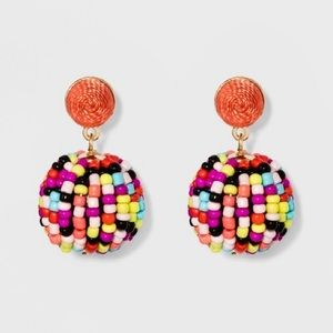 Multi Color / Rainbow Beaded Ball Stud Earrings